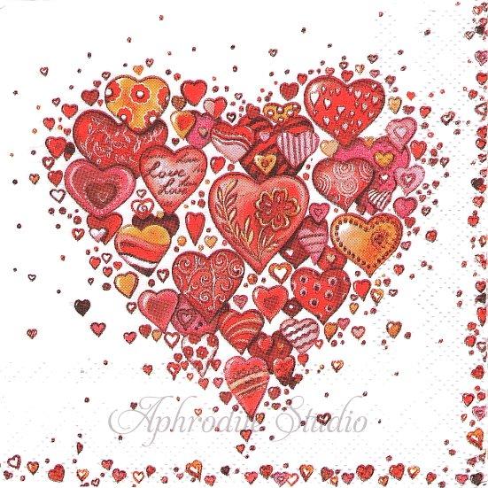 25cm 1パック20枚 WITH LOVE ハート型にいっぱい集まった手描きのハート レッド 未開封 ペーパーナプキン Ambiente