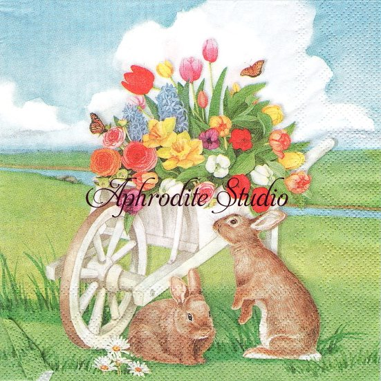 25cm EASTER BARROW 花の荷車と兎 バニー ラビット イースター 1枚 バラ売り ペーパーナプキン IHR