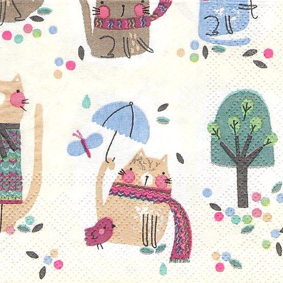21.5cm角  1パック20枚 アニメチック猫 CAT 小サイズ ぺーパーナプキン ミニ ULSTER WEAVERS