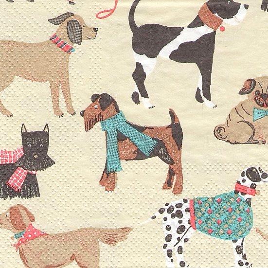 21.5cm角  1パック20枚 ドッグス 犬柄 DOG 小サイズ ぺーパーナプキン ミニ ULSTER WEAVERS