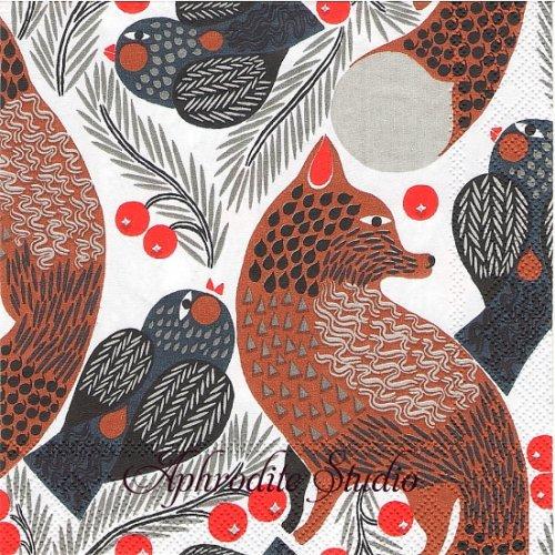 25cm 北欧 マリメッコ KETUNMARJA キツネと小鳥 狐 1枚 バラ売り ペーパーナプキン marimekko