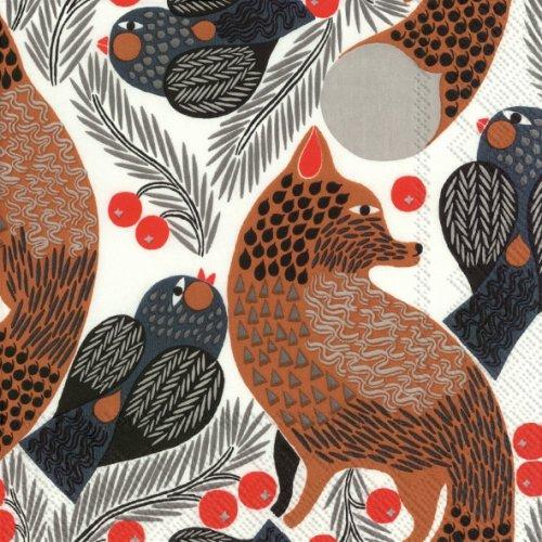 25cm 1パック20枚 北欧 マリメッコ KETUNMARJA キツネと小鳥 狐 ペーパーナプキン marimekko