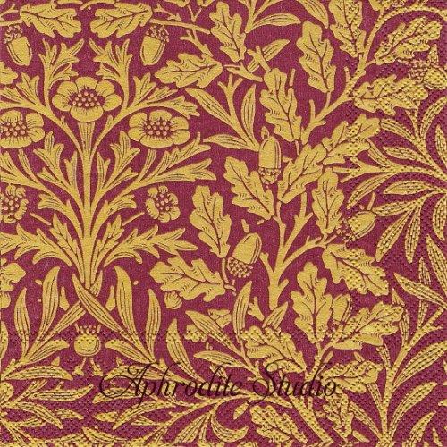 V&A ウィリアム・モリス ACORN ボルドーゴールド どんぐり 1枚 33cm ペーパーナプキン バラ売り William Morris Ihr