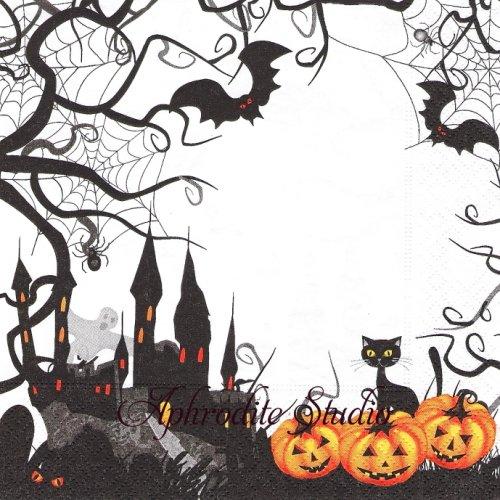 Spooky ハロウィン カボチャと猫 風景 1枚 バラ売り 33cm ペーパーナプキン Paper+Design