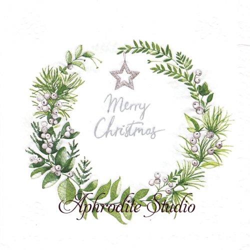 Moments Tender wreath エンボス加工 葉っぱのリース 1枚 バラ売り 33cm ペーパーナプキン Paper+Design