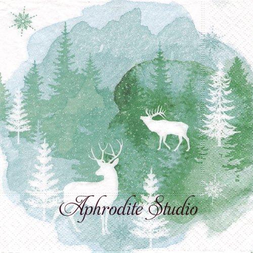 Aquarell mood  もみの木と鹿のいる風景 1枚 バラ売り 33cm ペーパーナプキン Paper+Design