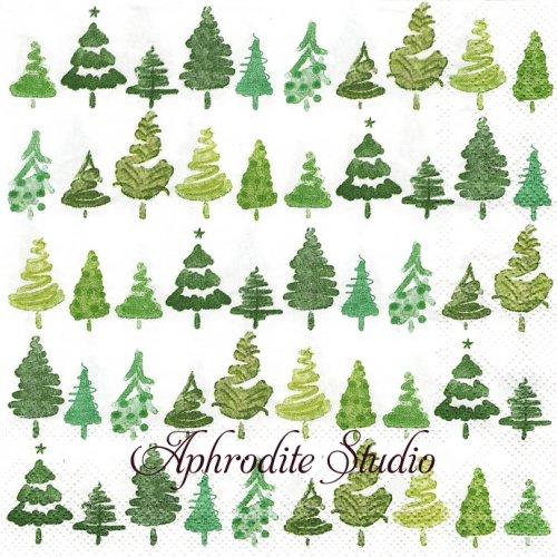COLORFUL X-MAS green グリーン 小さなもみの木 クリスマス 1枚 バラ売り 33cm ペーパーナプキン Ihr