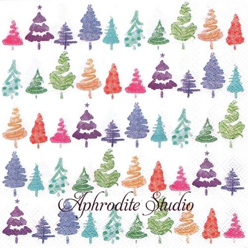 COLORFUL X-MAS カラフル 小さなもみの木 クリスマス 1枚 バラ売り 33cm ペーパーナプキン Ihr