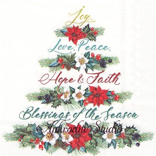 JOY, LOVE, PEACE cream ポインセチアのスワッグのもみの木 クリスマス 1枚 バラ売り 33cm ペーパーナプキン Ihr