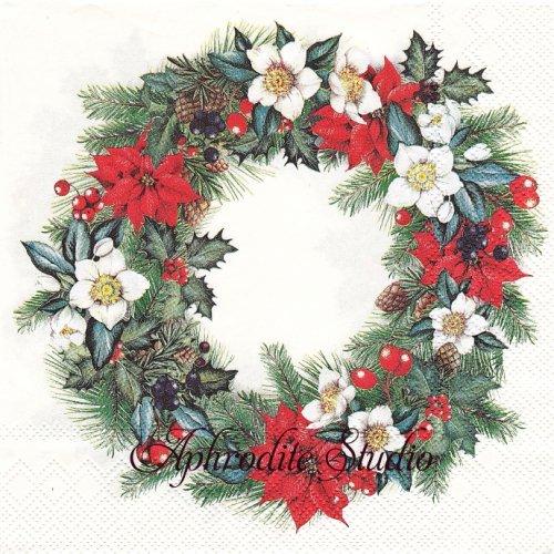 CHRISTMASSY WREATH cream ポインセチアのクリスマスリース クリスマス 1枚 バラ売り 33cm ペーパーナプキン Ihr