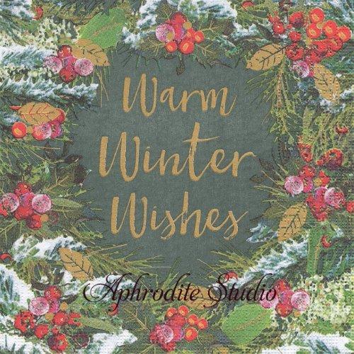 Winter Wishes もみの木のリース 1枚 バラ売り 33cm ペーパーナプキン ppd
