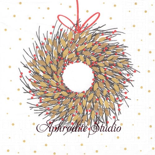 Couronne d´Or 金のリース クリスマス 1枚 バラ売り 33cm ペーパーナプキン デコパージュ用 紙ナプキン ppd