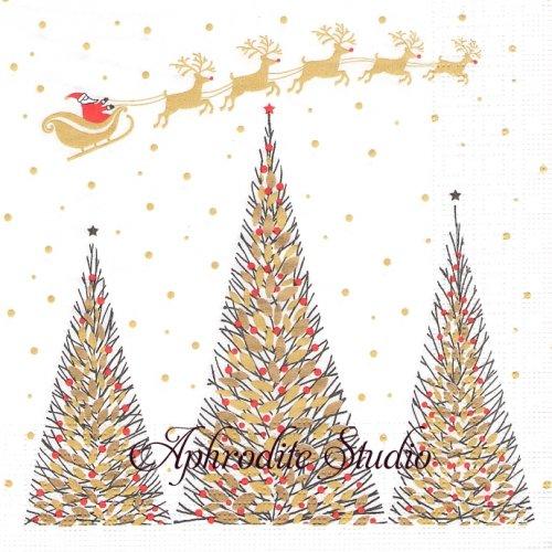 Joyeux Noel 金のもみの木、空を駆けるそり クリスマス 1枚 バラ売り 33cm ペーパーナプキン デコパージュ用 紙ナプキン ppd