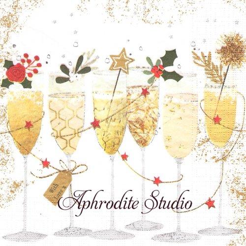 Champagne glasses シャンパングラス クリスマス 1枚 バラ売り 33cm ペーパーナプキン デコパージュ用 紙ナプキン ppd