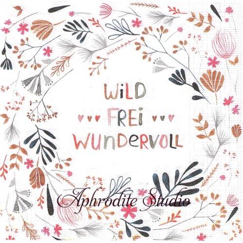 Wild, Frei, Wundervoll ピンク ワイルドフラワー 野花 1枚 バラ売り 33cm ペーパーナプキン デコパージュ用 紙ナプキン ppd