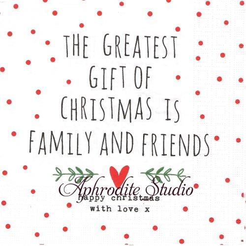 Gift of Christmas 水玉ドットとハート 文字 クリスマス 1枚 バラ売り 33cm ペーパーナプキン デコパージュ用 紙ナプキン ppd