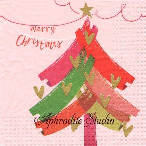 Warm Christmas ピンク ハート飾りのツリー 文字 クリスマス 1枚 バラ売り 33cm ペーパーナプキン デコパージュ用 紙ナプキン ppd
