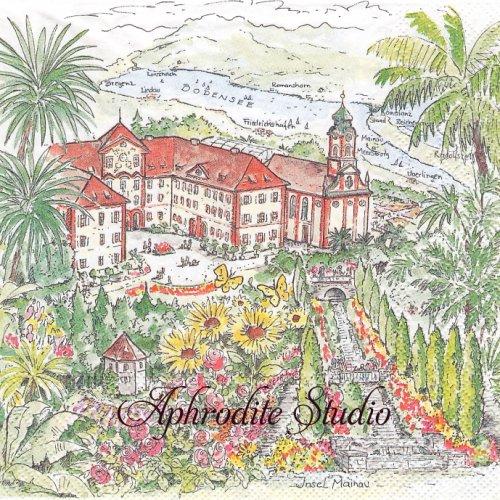 Insel Mainau リゾートホテルの風景イラスト 1枚 バラ売り 33cm ペーパーナプキン Ambiente