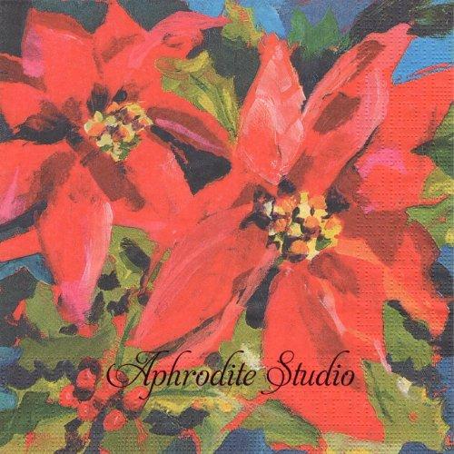 Poinsettia Musee ポインセチア クリスマス 1枚 バラ売り 33cm ペーパーナプキン デコパージュ用 紙ナプキン ppd