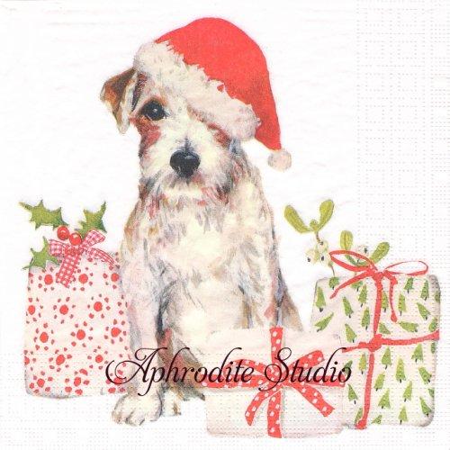 Christmas Pup サンタ帽子のテリア 犬 クリスマス 1枚 バラ売り 33cm ペーパーナプキン デコパージュ用 紙ナプキン ppd