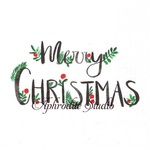 Merry Christmas 飾り文字 クリスマス 1枚 バラ売り 33cm ペーパーナプキン デコパージュ用 紙ナプキン ppd