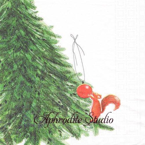 Little Help お手伝いリス クリスマスツリー 1枚 バラ売り 33cm ペーパーナプキン デコパージュ用 紙ナプキン ppd