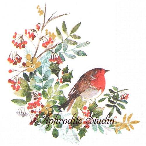 Pettirosso ひいらぎと小鳥 クリスマスツリー 1枚 バラ売り 33cm ペーパーナプキン デコパージュ用 紙ナプキン ppd