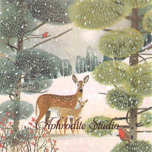 Holiday Meadow 鹿の親子 クリスマス 冬の風景 1枚 バラ売り 33cm ペーパーナプキン デコパージュ用 紙ナプキン ppd