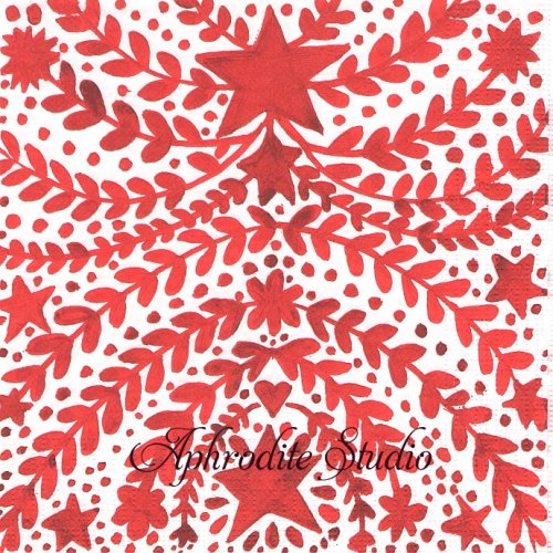 Gruezi! レッド ハートと星の模様1枚 バラ売り 33cm ペーパーナプキン デコパージュ用 紙ナプキン ppd