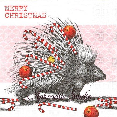 Merry Christmas ヤマアラシのクリスマス 1枚 バラ売り 33cm ペーパーナプキン ppd