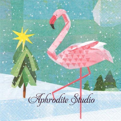 Winter flamingo ツリーとフラミンゴ クリスマス 1枚 バラ売り 33cm ペーパーナプキン Paper+Design