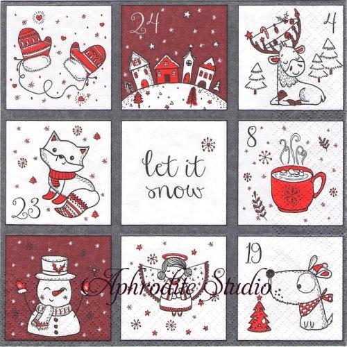 Cute Calendar クリスマスの可愛いカレンダー 1枚 バラ売り 33cm ペーパーナプキン HOME FASHION