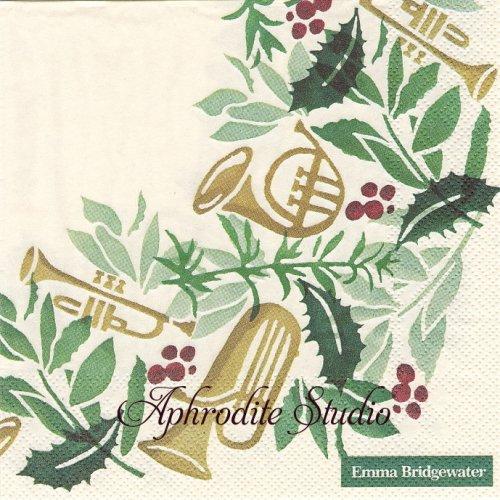 エマ・ブリッジウォーター BRING IN THE GREEN リースと楽器 Emma Bridgewater 1枚 バラ売り 33cm ペーパーナプキン Ihr