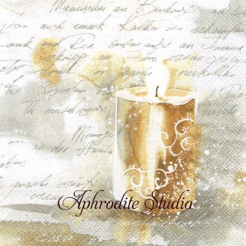 FESTIVE LIGHT gold silver 聖なるろうそく 文字 クリスマス 1枚 バラ売り 33cm ペーパーナプキン Ihr