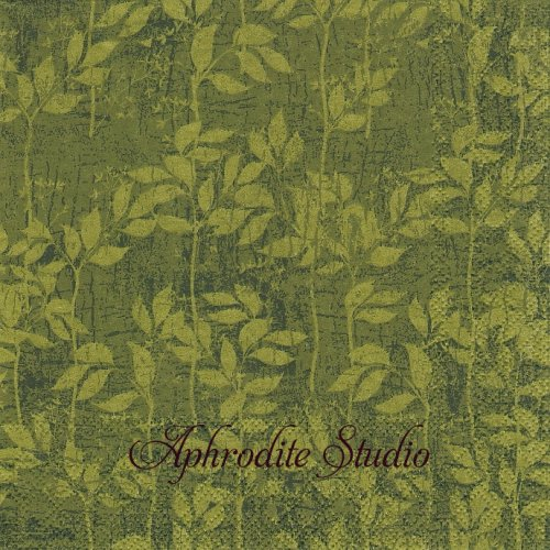 LEAVES PATTERN green ダークグリーン リーフ 葉っぱ模様 1枚 バラ売り 33cm ペーパーナプキン Ambiente