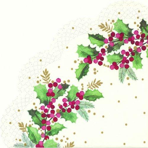 34cm CYNTHIA ホワイト ヒイラギ 柊 クリスマス 1枚 バラ売り サークル スカラップ型ペーパーナプキン Ihr