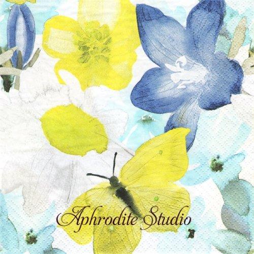 北欧 ペンティック Kesaniitty ブルー 花と蝶 1枚 バラ売り 33cm ペーパーナプキン PENTIK