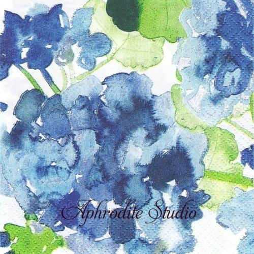 24cm 北欧 ペンティック pelargonia ブルー 水彩画の紫陽花 1枚 バラ売り ペーパーナプキン PENTIK