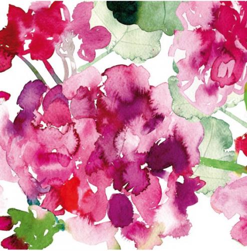 24cm 北欧 ペンティック pelargonia ピンク 水彩画の紫陽花 1枚 バラ売り ペーパーナプキン PENTIK