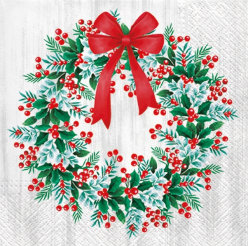 <img class='new_mark_img1' src='https://img.shop-pro.jp/img/new/icons55.gif' style='border:none;display:inline;margin:0px;padding:0px;width:auto;' />Wreath with Rowan 可愛いクリスマスリース 1枚 バラ売り 33cm ペーパーナプキン Paw