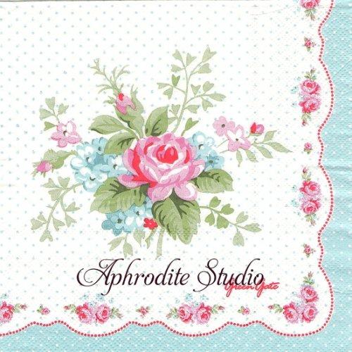 北欧 グリーン・ゲート Amy 薔薇 お花 1枚 バラ売り 33cm ペーパーナプキン GREENGATE