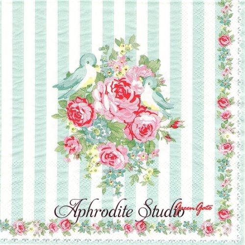 北欧 グリーン・ゲート JUNE ミント 小鳥 薔薇 お花 1枚 バラ売り 33cm ペーパーナプキン GREENGATE