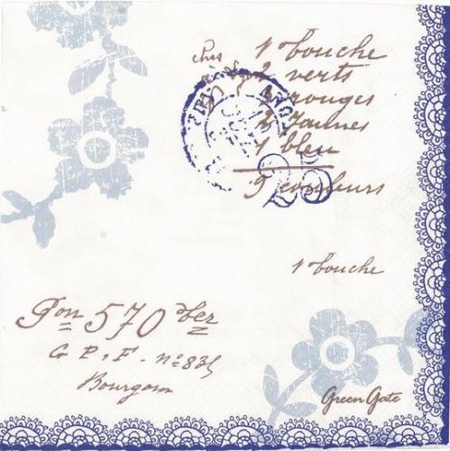 北欧 グリーン・ゲート FEY ブルー 文字 お花 1枚 バラ売り 33cm ペーパーナプキン GREENGATE