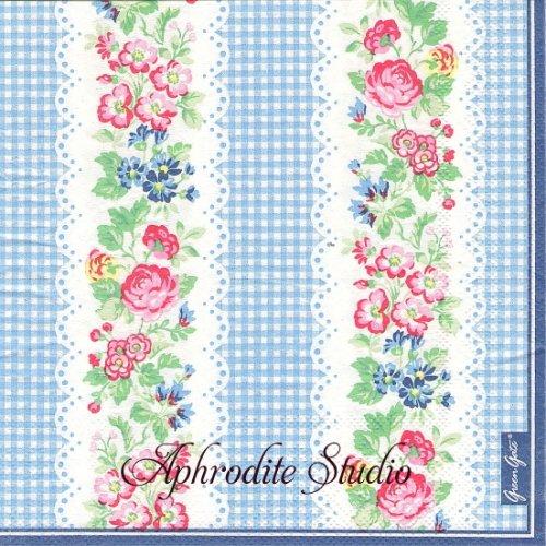 北欧 グリーン・ゲート IVY ブルー 薔薇 お花 1枚 バラ売り 33cm ペーパーナプキン GREENGATE