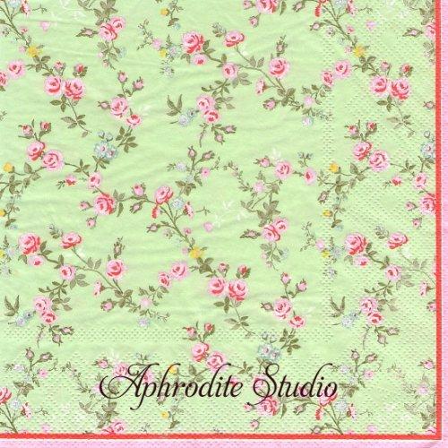 北欧 グリーン・ゲート ROSE グリーン 薔薇 お花 1枚 バラ売り 33cm ペーパーナプキン GREENGATE