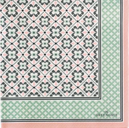 北欧 グリーン・ゲート LAMIA グリーン お花 1枚 バラ売り 33cm ペーパーナプキン GREENGATE
