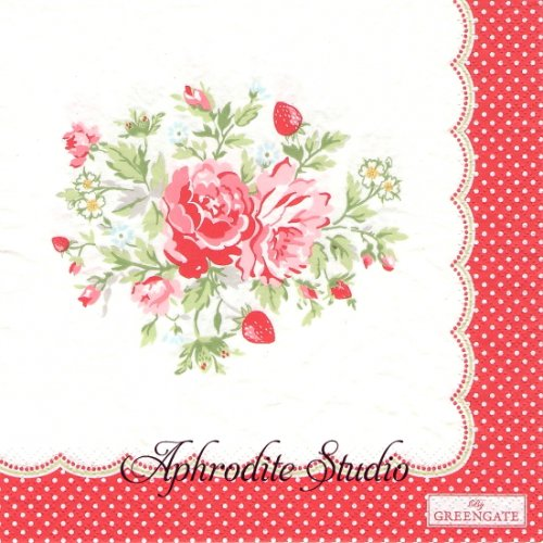 北欧 グリーン・ゲート Mary 苺と薔薇、お花 1枚 バラ売り 33cm ペーパーナプキン GREENGATE