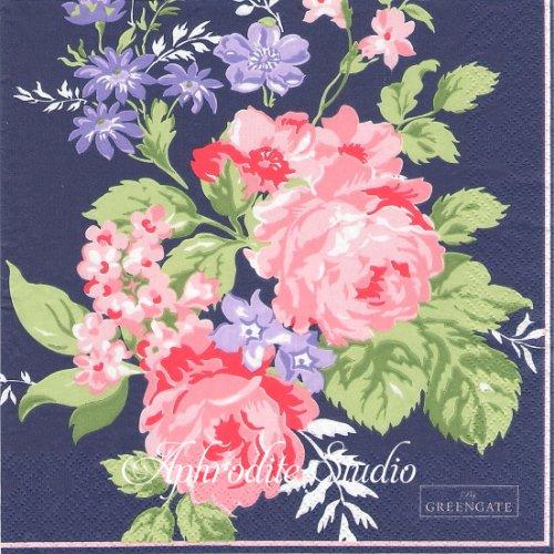 北欧 グリーン・ゲート Rose dark blue ネイビー 薔薇、お花 1枚 バラ売り 33cm ペーパーナプキン GREENGATE
