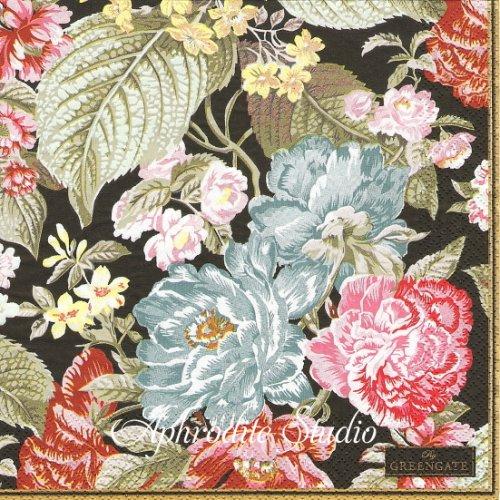 北欧 グリーン・ゲート Adele ブラック 薔薇、お花 1枚 バラ売り 33cm ペーパーナプキン GREENGATE