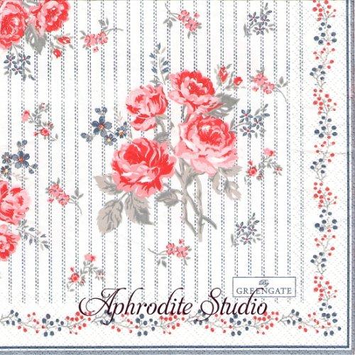 北欧 グリーン・ゲート Elisabeth 薔薇、お花 1枚 バラ売り 33cm ペーパーナプキン GREENGATE